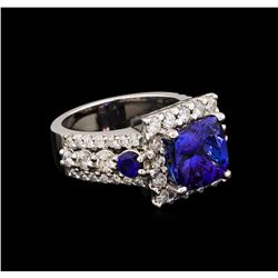 4.94 ctw Tanzanite, Sapphire and Diamond Ring - 14KT White Gold
