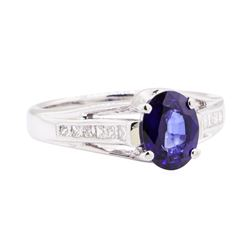 1.62 ctw Sapphire And Diamond Ring - 18KT White Gold