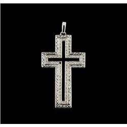 0.60 ctw Diamond and Onyx Cross Pendant - 18KT White Gold