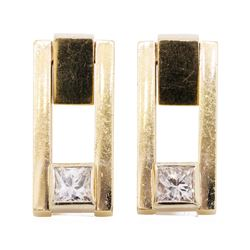 0.40 ctw Diamond Earrings - 14KT Yellow Gold
