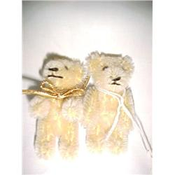 Pair Mohair Miniature Teddy Bears 2 1/2 in.