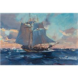 Christopher Blossom-Sketch for Colonial Schooner, Halifax