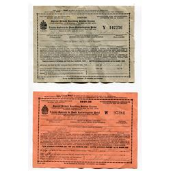 "LOT OF 2 ""SPECIAL PRIVATE RECEIVING STATION LICENCE"" (HOME RADIO LICENCE; 1947-84 & 1949-50)"