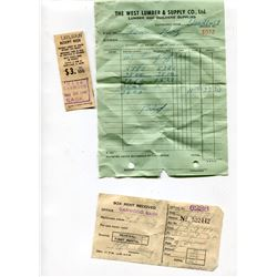 LOT OF *OLD* RECEIPTS (1950s; QTY 7)
