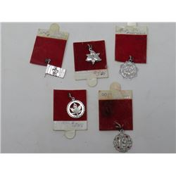 LOT OF 5 CHARMS (STERLING SILVER) *HAPPY BIRTHDAY, MAPLE LEAF, ETC*