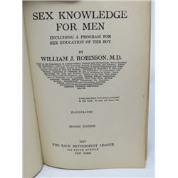 """SEX KNOWLEDGE FOR MEN"""" (BY WILLIAM J ROBINSON MD) *1917 SECOND EDITION*"""
