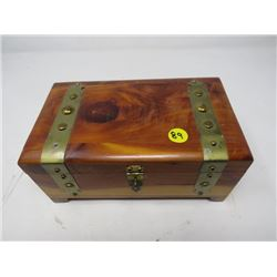 """JEWELRY BOX (WOODEN TREASURE CHEST) *8.5""""L X 5""""D X 4"""" H, LINED*"""