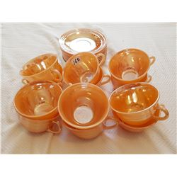 CUPS & SAUCERS *FIREKING ORANGE* (MADE IN USA) *QTY 12*