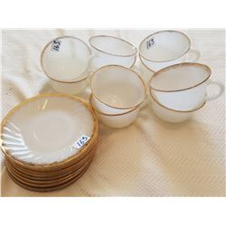 SET OF 10 FIRE KING MILK WHITE CUPS & SAUCERS *FIREKING (WHITE)* (QTY 10) *MADE IN USA*