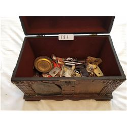 WOODEN TRUNK (W/COLLECTIBLE CONTENT)