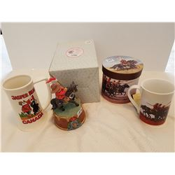 RCMP COLLECTIBLE LOT (2 CUPS & MUSIC BOX)