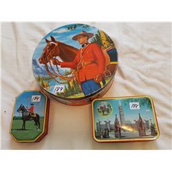 """RCMP COLLECTOR TINS *VINTAGE*(LARGE ONE IS 9.5"""")"""