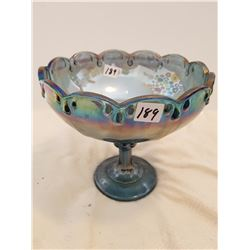 """FRUIT BOWL STAND *CARNIVAL GLASS* (8"""" WIDE)"""