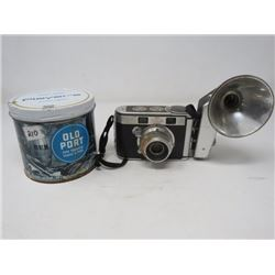 LOT OF 2 CAMERA W/FLASH (KODAK SIGNET 40) & PIPE TOBACCO TIN (OLD PORT) *HAS WRONG LID*