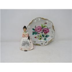 KITCHEN PRAYER LADY (REP'D) & ARTICULATED DISH (BOTH STAMPED JAPAN)