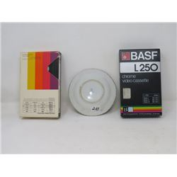 ASHTRAY (HUMOROUS), VIDEO CASSETTES (QTY 2)