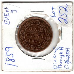 1859 ONE CENT PC *DIE CRACK THROUGH A IN CANADA*