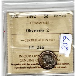 1892 OBVERSE 2 5 CENT PC *CERTIFIED*
