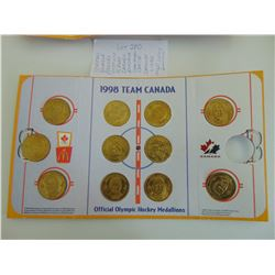 1998 MC DONALD'S 2 SIDED HOCKEY MEDALIONS * 4 HOLDERS (LOT OF 11)