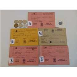 WWII WAR RATION BOOKS TOKEN (QTY 5) & WAR DATE 5 CENT PIECES (QTY 7)