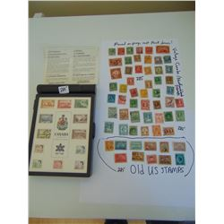 CENTENNIAL COMMEMORATIVE STAMP BOX W/QUANTITY OF OLD CANADIAN, NFLD & USA STAMPS
