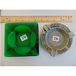 LOT OF 2 ASHTRAY (JOHN EAST ALUMINUM 45TH ANNIVERSARY & (GREEN) GLASS ASHTRAY