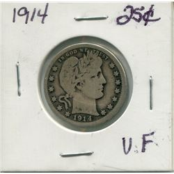 """1914 USA """"BARBER"""" 25 CENT PC (LAUREATE HEAD RIGHT)"""