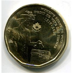 ROYAL CANADIAN MINT 2016 COMMEMORATIVE DOLLAR (100TH ANNIVERSARY OF WOMEN'S RIGHT TO VOTE)