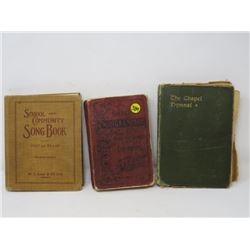 LOT OF 3 SONG BOOKS (SCHOOL & COMMUNITY 1927, THE CHAPEL HYMNAL, SACRED SONGS AND SOLOS) *VINTAGE*