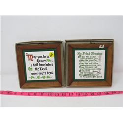 LOT OF 2 IRISH BLESSINGS WALL PLAQUES