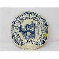CALENDAR PLATE (1937) *WHITE AND FEAR, TISDALE)