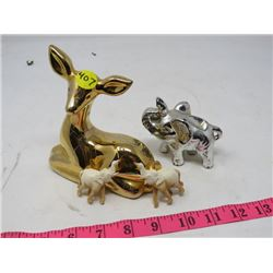 ASSORTED FIGURINES (ELEPHANT AND FAWN)