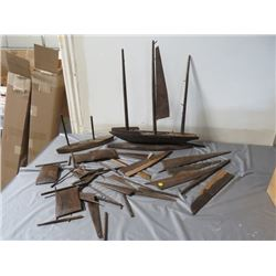 SHIP BUILDER HOBBY PROJECT (WOODEN WALNUT SAIL BOAT) *MANY PIECES*