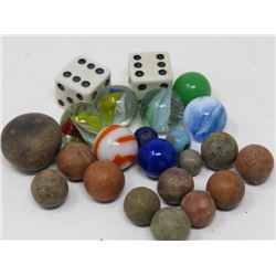 LOT OF MARBLES & DICE (GLASS AND CLAY MARBLES