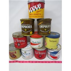 LOT OF 10 TOBACCO TINS (OLD VIRGINIA, SPORTSMAN, AMPHORA, DAILY MAIL, VOGUE,BRIER, MARK TEN)