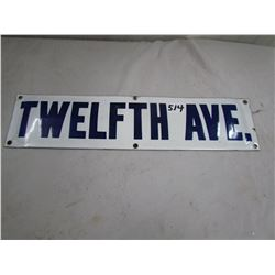 "PORCELAIN SIGN (12TH AVE) *19"" X 4.5""*"