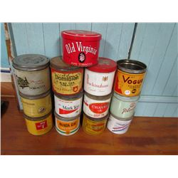 LOT OF 13 ASSORTED TOBACCO TINS