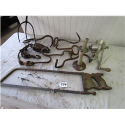 LOT OF MEAT HOOKS, MEAT SAW, SCRAPERS, GRINDER, ETC