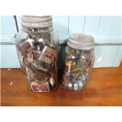 LOT OF 2 JUNK JARS OF COLLECTIBLES