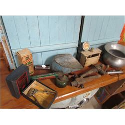 LOT OF GENERAL STORE ITEMS (SPITTOON, SPIGOTTS, BUTTER PRESS, ETC)