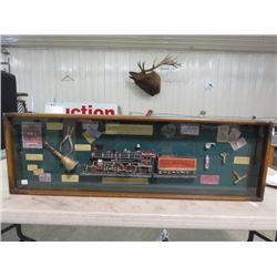 """SHADOW BOX OF TRAIN RELATED ARTICLES (46"""" X 13"""")"""