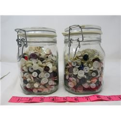 LOT OF 2 JARS OF BUTTONS