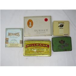 LOT OF 5 TOBACCO TINS (TURRET, MEHARTS, MILLBANK ETC…)