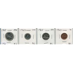 1960s CNDN SET OF 1 CENT TO 25 CENT PCS (QTY 4, SOME SILVER)