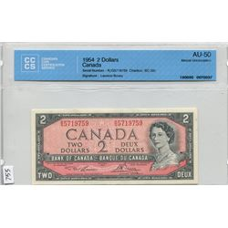 1954 CNDN 2 DOLLAR BANK NOTE (CCCS CERTIFIED)