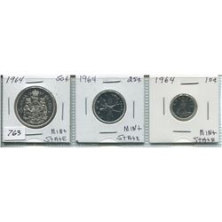 1960s SET OF THREE CNDN PCS - 10 CENT PC, 25 CENT PC & 50 CENT PC (SILVER)