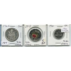 SET OF THREE CNDN PCS - 50 CENT PC (1965, SILVER), 5 CENT PC (1961) & 2 DOLLAR ARMISTICE PC (2018)