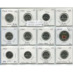 SHEET OF 1960s CNDN 5 CENT PCS (QTY 10), 2018 CNDN ARMISTICE 2 DOLLAR PC & 1965 CNDN 25 CENT PC (SIL