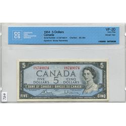 1954 CNDN 5 DOLLAR BANK NOTE (CCCS CERTIFIED)