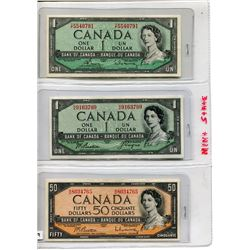 1954 CNDN BANK NOTES (50 DOLLARS 2 ONE DOLLARS *ONE IS DEVILS FACE*)